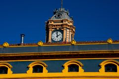 Tourist office building clock tower. La Canilla, it was the terminal station of the Bilbao-Portugalete Railway line. Portugalete, Spain royalty free stock image