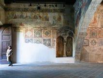 Tourist in old aula Tempietto di Santa Croce royalty free stock photography