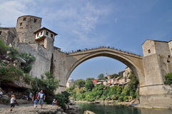 Tourist at the old bridge in Mostar Stock Photography