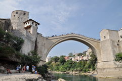 Tourist at the old bridge (Stari Most) Stock Photography