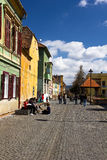 Tourist in the old town center of Sibiu Royalty Free Stock Images