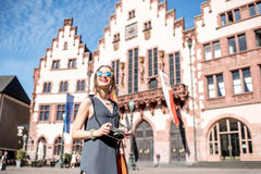 Tourist in the old town of Frankfurt city Stock Photography
