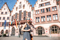 Tourist in the old town of Frankfurt city Stock Photo