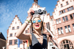 Tourist in the old town of Frankfurt city Royalty Free Stock Photography