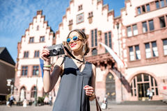 Tourist in the old town of Frankfurt city Stock Photos