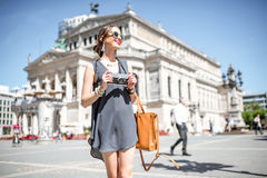 Tourist in the old town of Frankfurt city Stock Image