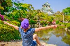 Tourist at Osaka Castle Stock Image