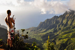 Tourist overlooking Kalalau Valley - Kauai, Hawaii Royalty Free Stock Photo