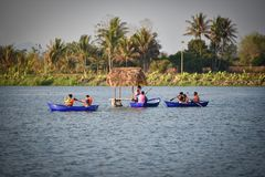The tourist Paddle Attractions Water reservoir in thailand Royalty Free Stock Photography