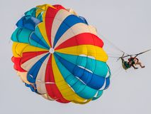 Tourist Parasailing on Beach. Tourist Parasailing on a Beach. Located in Langkawi, Malaysia royalty free stock photo
