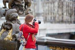 Tourist in Paris on the Pont Alexandre III Stock Photos
