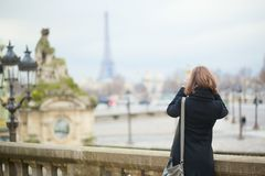 Tourist in Paris taking picture Stock Image