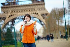 Tourist in Paris, walking with coffee Stock Image