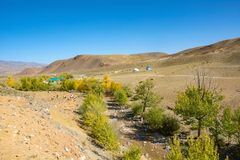 Tourist Parking Mars 1. Tourist Parking Mars1 in the valley of the river Kyzyl-Chin, Altai Republic stock photo
