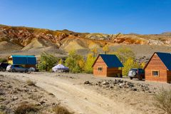 Tourist Parking Mars 1. Tourist Parking Mars1 in the valley of the river Kyzyl-Chin, Altai Republic royalty free stock photo