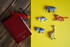 Tourist passport, African animals and a helicopter stock image