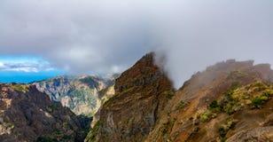 Tourist path from Pico Areeiro to Pico Ruivo, Madeira Island stock image