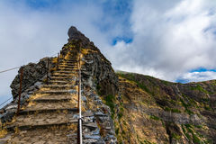 Tourist path from Pico Areeiro to Pico Ruivo, Madeira Island stock images