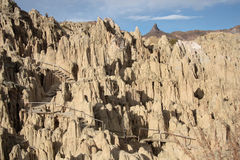 Tourist path in rocks of Moon Valley, Bolivia Royalty Free Stock Images