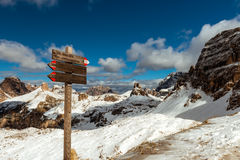 Tourist paths directions Dolomiti mountains, Italy Stock Images