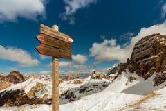 Tourist paths directions Dolomiti mountains, Italy Stock Photos