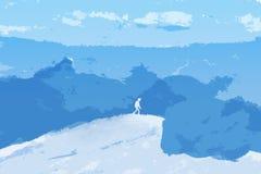 Tourist on peak of Mountains. Royalty Free Stock Images