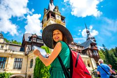 Tourist in Peles castle Royalty Free Stock Photography