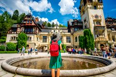 Tourist in Peles castle Royalty Free Stock Photo