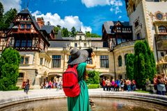 Tourist in Peles castle Royalty Free Stock Images