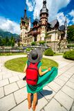 Tourist in Peles castle Stock Image