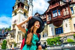 Tourist in Peles castle Stock Photo