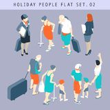 Tourist People 3D Flat Isometric Set 02. Flat style tourist people in casual clothes infographic  icon set situations web template. Men women kids summer holiday Stock Images