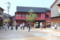 Tourist people sightseeing historic Geisha district, Kanazawa, Japan Royalty Free Stock Photos