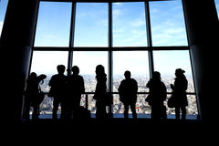 Tourist. People viewing Tokyo city scenery from Tokyo Skytree tower Royalty Free Stock Photos