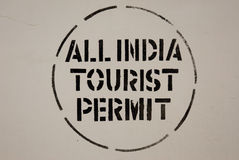 Tourist permit. Tourist sign on a car in india Stock Photo