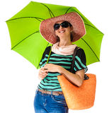 Tourist person summer sun green umbrella Stock Image