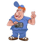 Tourist photographer. Cartoon tourist photographer on a white background Stock Images