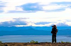 Tourist-photographer. Kamchatka. Stock Image