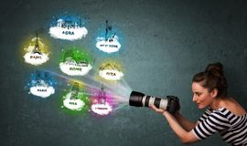 Tourist photographer making images of famous places around the world Royalty Free Stock Image