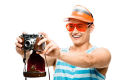 Tourist photographer taking photo Royalty Free Stock Photo