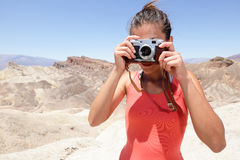 Tourist photographer woman in Death Valley Royalty Free Stock Photography