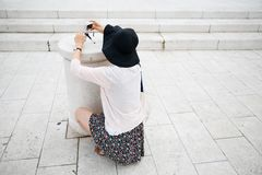 Tourist photographing on sightseeing tour Royalty Free Stock Photos