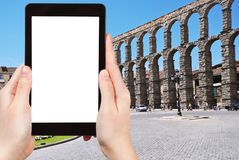 Tourist photographs of Aqueduct of Segovia, Spain Royalty Free Stock Images