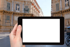 Tourist photographs of baroque square in Palermo Royalty Free Stock Photography