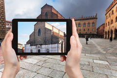Tourist photographs basilica in Bologna city Royalty Free Stock Image