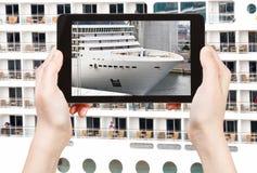 Tourist photographs of big cruise liner Stock Photos