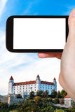 Tourist photographs of Bratislava Hrad castle Royalty Free Stock Photography