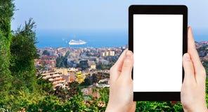 Tourist photographs Cannes city and Azure Coast Royalty Free Stock Photos