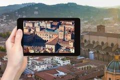 Tourist photographs center of Bologna city Royalty Free Stock Image