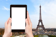 Tourist photographs of eiffel tower in Paris Royalty Free Stock Photo